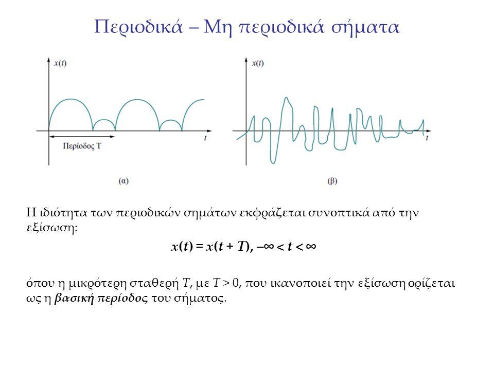 Περιοδικά – Μη περιοδικά σήματα Η ιδιότητα των περιοδικών σημάτων εκφράζεται συνοπτικά από την εξίσωση: x(t) = x(t + T), –∞ < t < ∞ όπου η μικρότερη σ