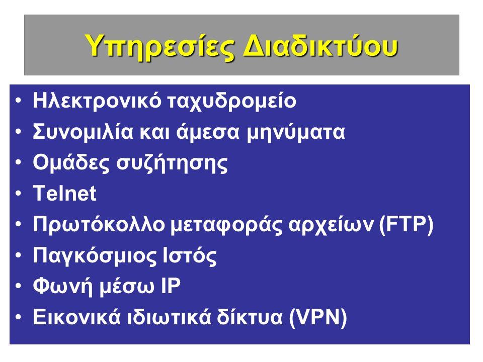 Υπηρεσίες Διαδικτύου Ηλεκτρονικό ταχυδρομείο Συνομιλία και άμεσα μηνύματα Ομάδες συζήτησης Telnet Πρωτόκολλο μεταφοράς αρχείων (FTP) Παγκόσμιος Ιστός Φωνή μέσω IP Εικονικά ιδιωτικά δίκτυα (VPN)