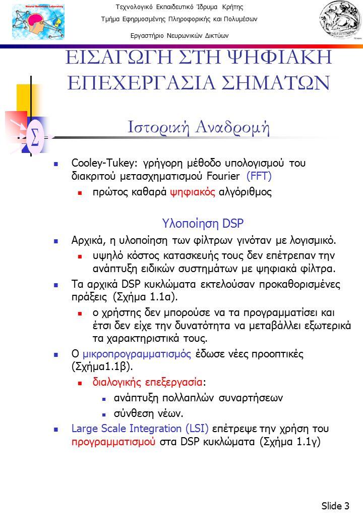 Τεχνολογικό Εκπαιδευτικό Ίδρυμα Κρήτης Τμήμα Εφηρμοσμένης Πληροφορικής και Πολυμέσων Εργαστήριο Νευρωνικών Δικτύων Slide 14 ΕΙΣΑΓΩΓΗ ΣΤΗ ΨΗΦΙΑΚΗ ΕΠΕΧΕΡΓΑΣΙΑ ΣΗΜΑΤΩΝ ΜΕΘΟΔΟΛΟΓΙΑ ΣΧΕΔΙΑΣΗΣ ΣΥΣΤΗΜΑΤΩΝ 4.