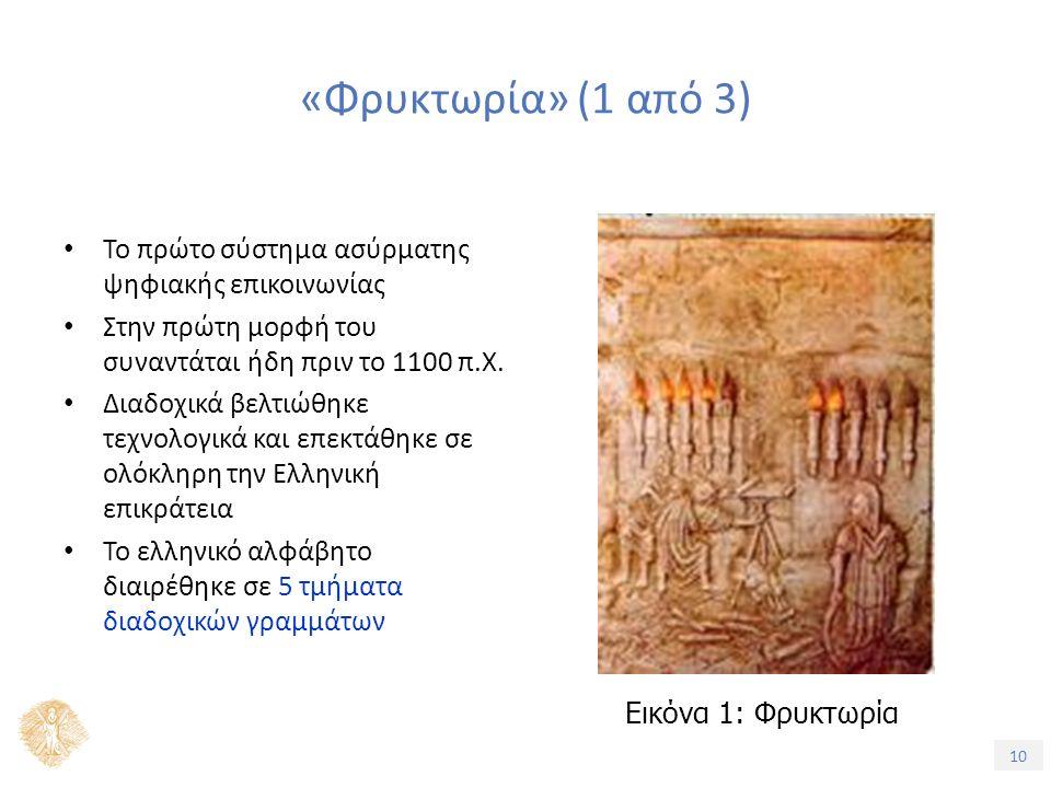 10 «Φρυκτωρία» (1 από 3) Το πρώτο σύστημα ασύρματης ψηφιακής επικοινωνίας Στην πρώτη μορφή του συναντάται ήδη πριν το 1100 π.Χ.