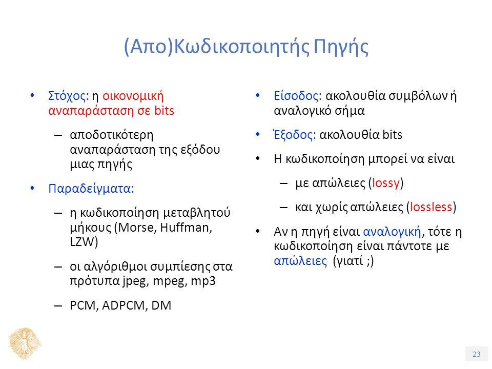 23 (Απο)Κωδικοποιητής Πηγής Στόχος: η οικονομική αναπαράσταση σε bits – αποδοτικότερη αναπαράσταση της εξόδου μιας πηγής Παραδείγματα: – η κωδικοποίηση μεταβλητού μήκους (Morse, Huffman, LZW) – οι αλγόριθμοι συμπίεσης στα πρότυπα jpeg, mpeg, mp3 – PCM, ADPCM, DM Είσοδος: ακολουθία συμβόλων ή αναλογικό σήμα Έξοδος: ακολουθία bits Η κωδικοποίηση μπορεί να είναι – με απώλειες (lossy) – και χωρίς απώλειες (lossless) Αν η πηγή είναι αναλογική, τότε η κωδικοποίηση είναι πάντοτε με απώλειες (γιατί ;)