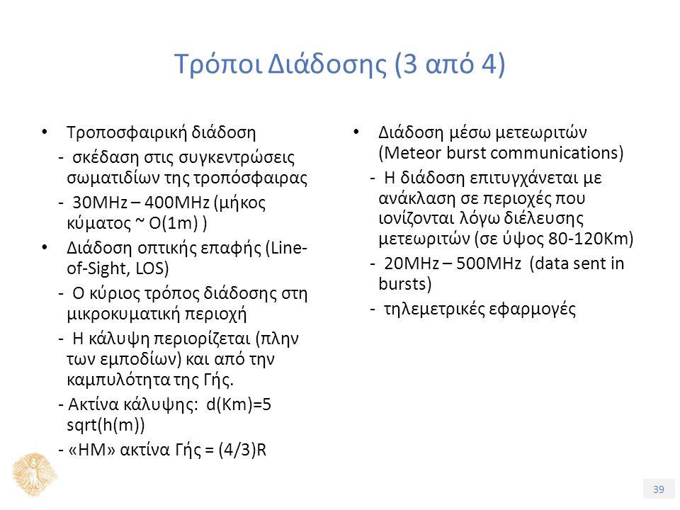 39 Τρόποι Διάδοσης (3 από 4) Τροποσφαιρική διάδοση - σκέδαση στις συγκεντρώσεις σωματιδίων της τροπόσφαιρας - 30ΜHz – 400ΜHz (μήκος κύματος ~ Ο(1m) ) Διάδοση οπτικής επαφής (Line- of-Sight, LOS) - Ο κύριος τρόπος διάδοσης στη μικροκυματική περιοχή - Η κάλυψη περιορίζεται (πλην των εμποδίων) και από την καμπυλότητα της Γής.