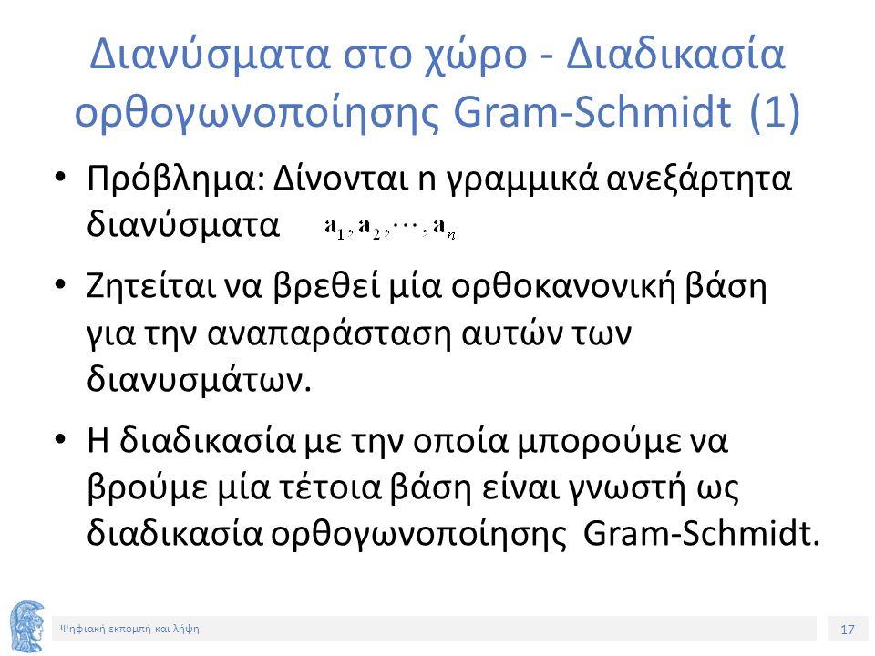 17 Ψηφιακή εκπομπή και λήψη Διανύσματα στο χώρο - Διαδικασία ορθογωνοποίησης Gram-Schmidt (1) Πρόβλημα: Δίνονται n γραμμικά ανεξάρτητα διανύσματα Ζητείται να βρεθεί μία ορθοκανονική βάση για την αναπαράσταση αυτών των διανυσμάτων.