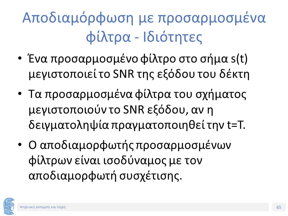 65 Ψηφιακή εκπομπή και λήψη Αποδιαμόρφωση με προσαρμοσμένα φίλτρα - Ιδιότητες Ένα προσαρμοσμένο φίλτρο στο σήμα s(t) μεγιστοποιεί το SNR της εξόδου του δέκτη Τα προσαρμοσμένα φίλτρα του σχήματος μεγιστοποιούν το SNR εξόδου, αν η δειγματοληψία πραγματοποιηθεί την t=T.