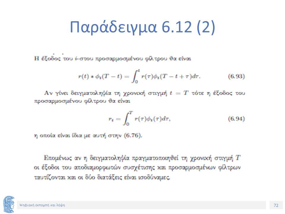 72 Ψηφιακή εκπομπή και λήψη Παράδειγμα 6.12 (2)