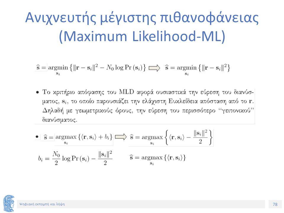78 Ψηφιακή εκπομπή και λήψη Ανιχνευτής μέγιστης πιθανοφάνειας (Maximum Likelihood-ML)