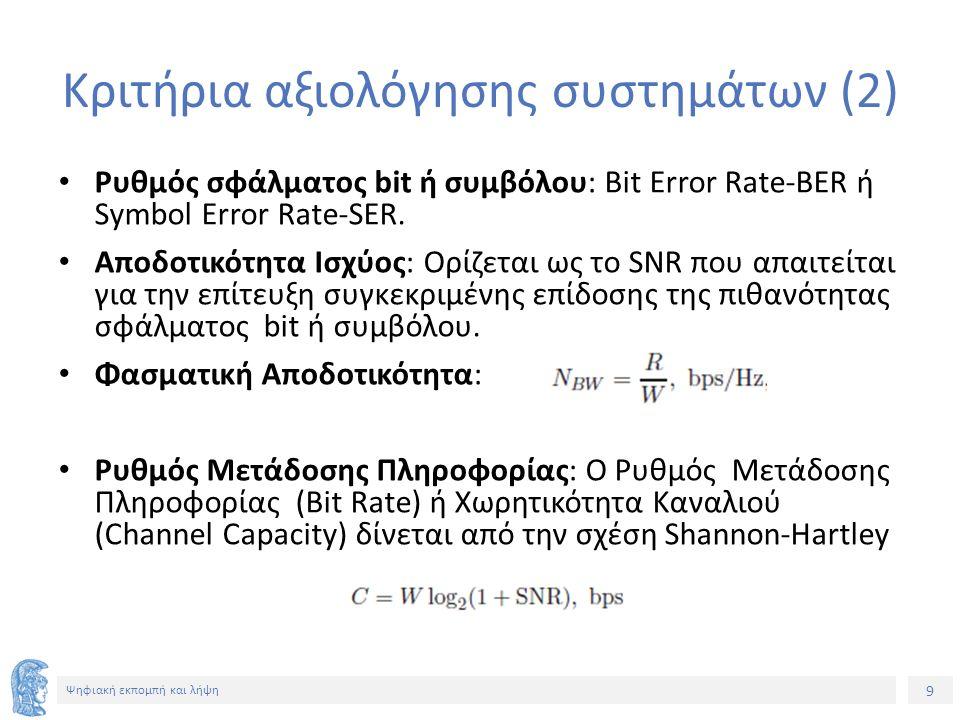 9 Ψηφιακή εκπομπή και λήψη Κριτήρια αξιολόγησης συστημάτων (2) Ρυθμός σφάλματος bit ή συμβόλου: Bit Error Rate-BER ή Symbol Error Rate-SER. Αποδοτικότ