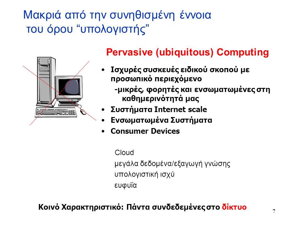 """Μακριά από την συνηθισμένη έννοια του όρου """"υπολογιστής"""" Ισχυρές συσκευές ειδικού σκοπού με προσωπικό περιεχόμενο -μικρές, φορητές και ενσωματωμένες σ"""