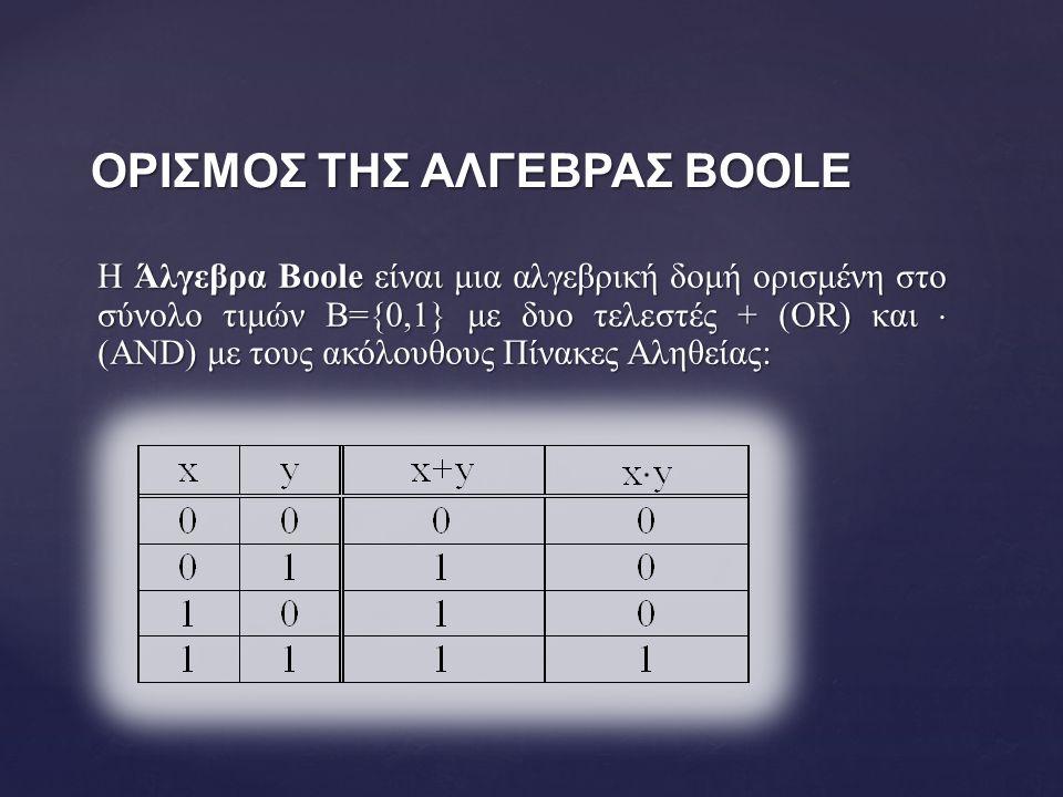 Η Άλγεβρα Boole είναι μια αλγεβρική δομή ορισμένη στο σύνολο τιμών Β={0,1} με δυο τελεστές + (OR) και  (AND) με τους ακόλουθους Πίνακες Αληθείας: ΟΡΙΣΜΟΣ ΤΗΣ ΑΛΓΕΒΡΑΣ BOOLE