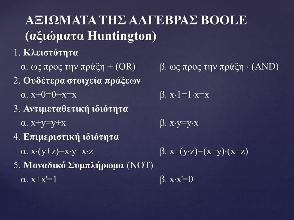ΑΞΙΩΜΑΤΑ ΤΗΣ ΑΛΓΕΒΡΑΣ BOOLE (αξιώματα Huntington) 1.