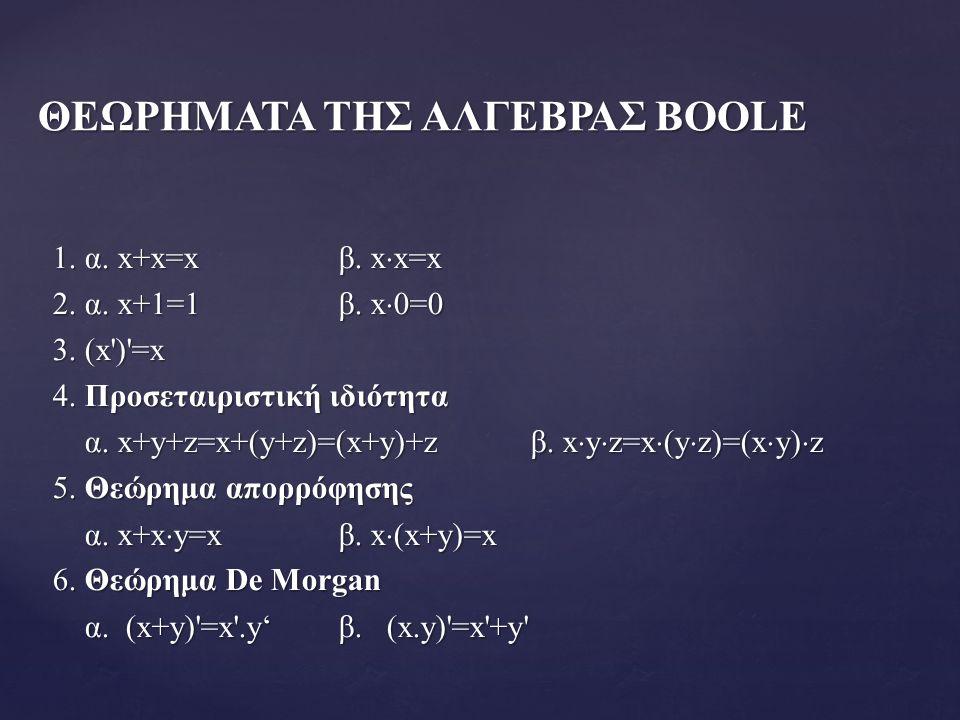1. α. x+x=xβ. x  x=x 2. α. x+1=1β. x  0=0 3.