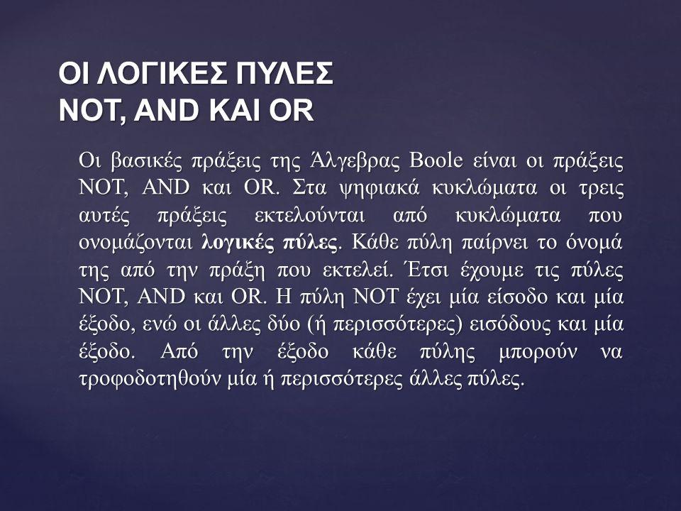 ΟΙ ΛΟΓΙΚΕΣ ΠΥΛΕΣ NOT, AND ΚΑΙ OR Οι βασικές πράξεις της Άλγεβρας Boole είναι οι πράξεις NOT, AND και OR.