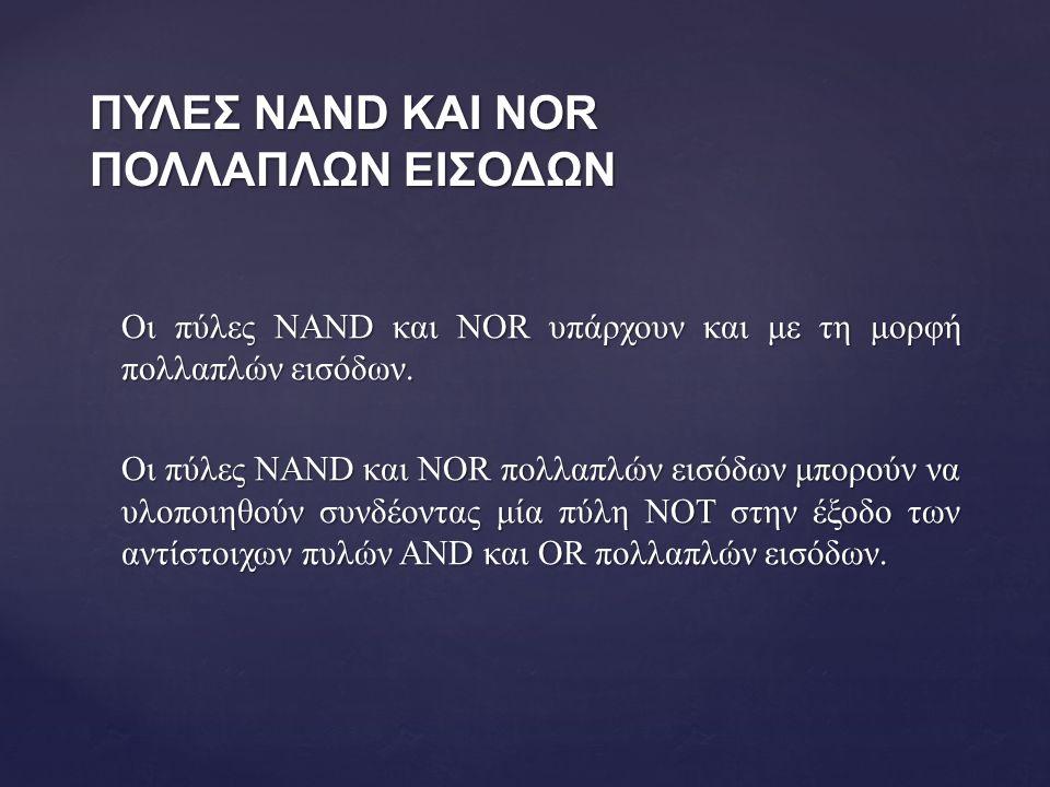 ΠΥΛΕΣ NAND ΚΑΙ NOR ΠΟΛΛΑΠΛΩΝ ΕΙΣΟΔΩΝ Οι πύλες NAND και NOR υπάρχουν και με τη μορφή πολλαπλών εισόδων.