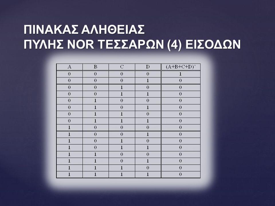 ΠΙΝΑΚΑΣ ΑΛΗΘΕΙΑΣ ΠΥΛΗΣ NOR ΤΕΣΣΑΡΩΝ (4) ΕΙΣΟΔΩΝ