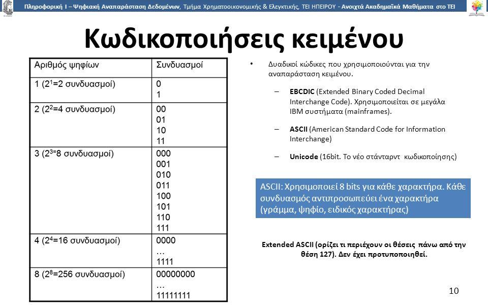 1010 Πληροφορική Ι – Ψηφιακή Αναπαράσταση Δεδομένων, Τμήμα Χρηματοοικονομικής & Ελεγκτικής, ΤΕΙ ΗΠΕΙΡΟΥ - Ανοιχτά Ακαδημαϊκά Μαθήματα στο ΤΕΙ Ηπείρου