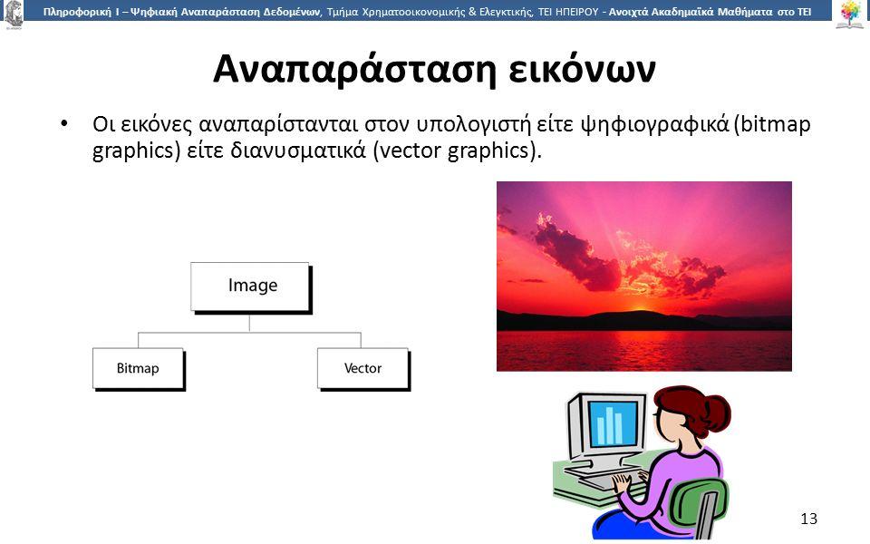 1313 Πληροφορική Ι – Ψηφιακή Αναπαράσταση Δεδομένων, Τμήμα Χρηματοοικονομικής & Ελεγκτικής, ΤΕΙ ΗΠΕΙΡΟΥ - Ανοιχτά Ακαδημαϊκά Μαθήματα στο ΤΕΙ Ηπείρου Αναπαράσταση εικόνων Οι εικόνες αναπαρίστανται στον υπολογιστή είτε ψηφιογραφικά (bitmap graphics) είτε διανυσματικά (vector graphics).