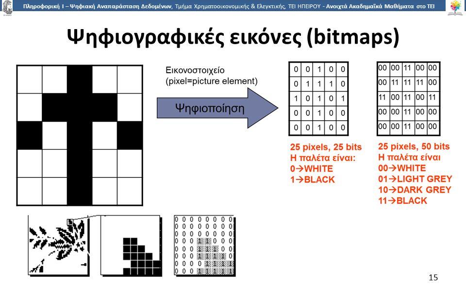 1515 Πληροφορική Ι – Ψηφιακή Αναπαράσταση Δεδομένων, Τμήμα Χρηματοοικονομικής & Ελεγκτικής, ΤΕΙ ΗΠΕΙΡΟΥ - Ανοιχτά Ακαδημαϊκά Μαθήματα στο ΤΕΙ Ηπείρου Ψηφιογραφικές εικόνες (bitmaps) 15