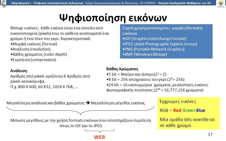 1717 Πληροφορική Ι – Ψηφιακή Αναπαράσταση Δεδομένων, Τμήμα Χρηματοοικονομικής & Ελεγκτικής, ΤΕΙ ΗΠΕΙΡΟΥ - Ανοιχτά Ακαδημαϊκά Μαθήματα στο ΤΕΙ Ηπείρου Ψηφιοποίηση εικόνων Βάθος Χρώματος 1 bit = Μαύρο και άσπρο(2 1 = 2) 8 bit = 256 αποχρώσεις του γκρι (2 8 = 256) 24 bit = 16 εκατομμύρια χρώματα, ρεαλιστικές εικόνες φωτογραφικής ποιότητας (2 24 = 16,777,216 χρώματα) Συχνά χρησιμοποιούμενες μορφές(formats) εικόνων GIF (Graphics Interchange Format) JPEG (Joint Photographic Experts Group) PNG (Portable Network Graphics) BMP (Windows Bitmap) Bitmap εικόνες: Κάθε εικόνα είναι ένα σύνολο από εικονοστοιχεία (pixels) που το καθένα αναπαριστά ένα χρώμα ή ένα τόνο του γκρι.