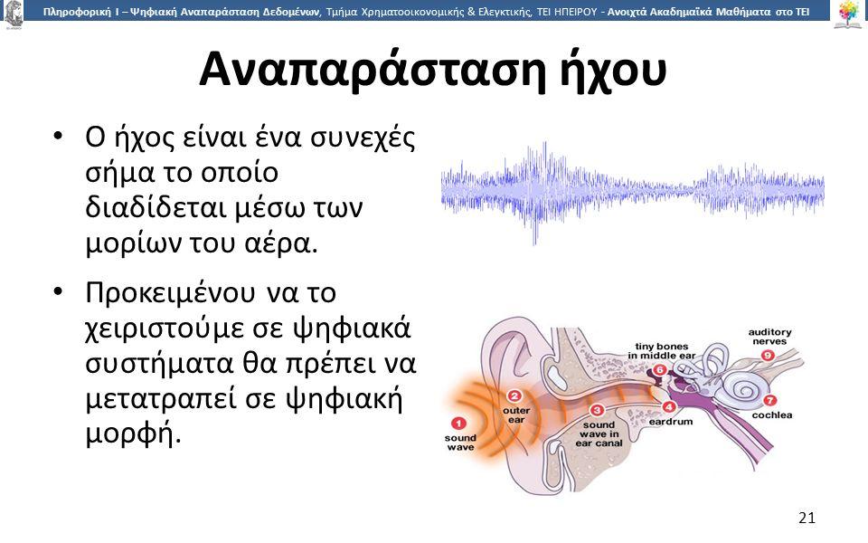 2121 Πληροφορική Ι – Ψηφιακή Αναπαράσταση Δεδομένων, Τμήμα Χρηματοοικονομικής & Ελεγκτικής, ΤΕΙ ΗΠΕΙΡΟΥ - Ανοιχτά Ακαδημαϊκά Μαθήματα στο ΤΕΙ Ηπείρου Αναπαράσταση ήχου Ο ήχος είναι ένα συνεχές σήμα το οποίο διαδίδεται μέσω των μορίων του αέρα.