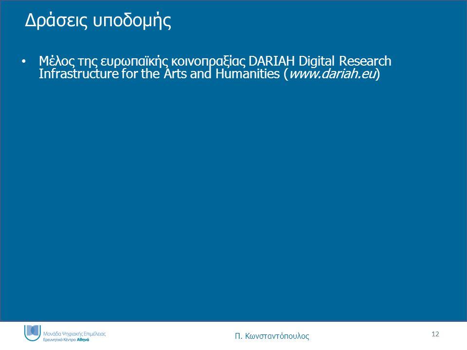 12 Δράσεις υποδομής Μέλος της ευρωπαϊκής κοινοπραξίας DARIAH Digital Research Infrastructure for the Arts and Humanities (www.dariah.eu) 12 Π.