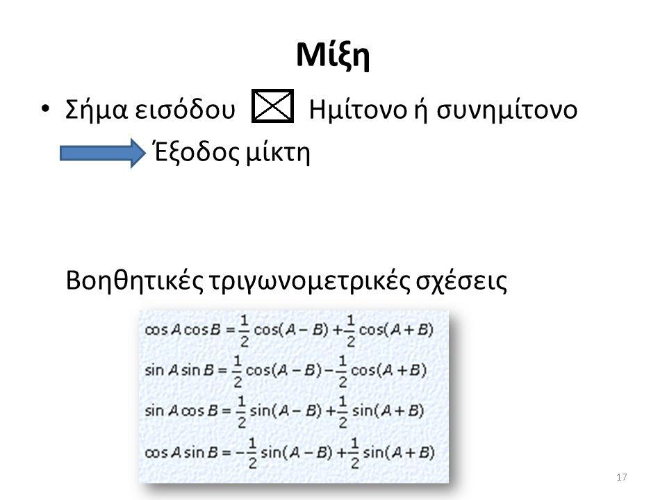 Μίξη Σήμα εισόδου Ημίτονο ή συνημίτονο Έξοδος μίκτη Βοηθητικές τριγωνομετρικές σχέσεις 17