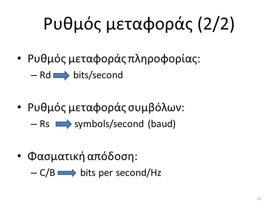 Ρυθμός μεταφοράς (2/2) Ρυθμός μεταφοράς πληροφορίας: – Rd bits/second Ρυθμός μεταφοράς συμβόλων: – Rs symbols/second (baud) Φασματική απόδοση: – C/B bits per second/Hz 21