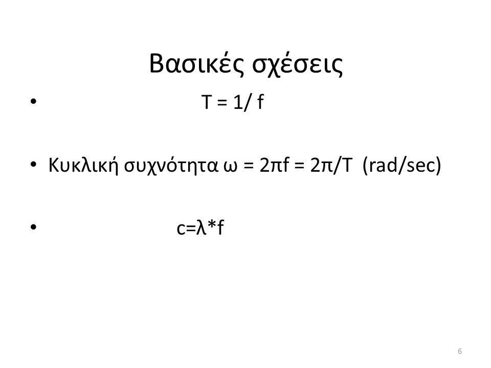 Βασικές σχέσεις Τ = 1/ f Κυκλική συχνότητα ω = 2πf = 2π/Τ (rad/sec) c=λ*f 6