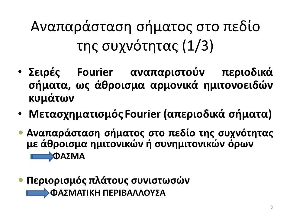 Αναπαράσταση σήματος στο πεδίο της συχνότητας (1/3) Σειρές Fourier αναπαριστούν περιοδικά σήματα, ως άθροισμα αρμονικά ημιτονοειδών κυμάτων Μετασχηματισμός Fourier (απεριοδικά σήματα) Αναπαράσταση σήματος στο πεδίο της συχνότητας με άθροισμα ημιτονικών ή συνημιτονικών όρων ΦΑΣΜΑ Περιορισμός πλάτους συνιστωσών ΦΑΣΜΑΤΙΚΗ ΠΕΡΙΒΑΛΛΟΥΣΑ 9