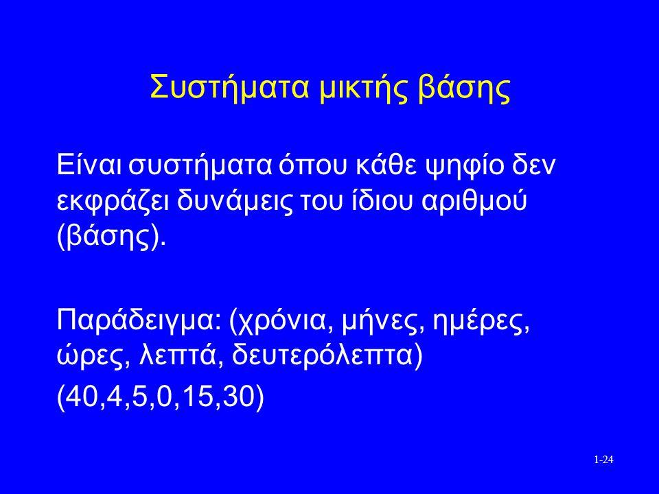 1-24 Συστήματα μικτής βάσης Είναι συστήματα όπου κάθε ψηφίο δεν εκφράζει δυνάμεις του ίδιου αριθμού (βάσης).