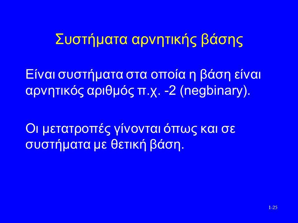1-25 Συστήματα αρνητικής βάσης Είναι συστήματα στα οποία η βάση είναι αρνητικός αριθμός π.χ.