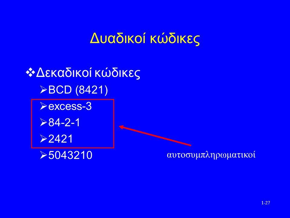 1-27 Δυαδικοί κώδικες  Δεκαδικοί κώδικες  BCD (8421)  excess-3  84-2-1  2421  5043210 αυτοσυμπληρωματικοί