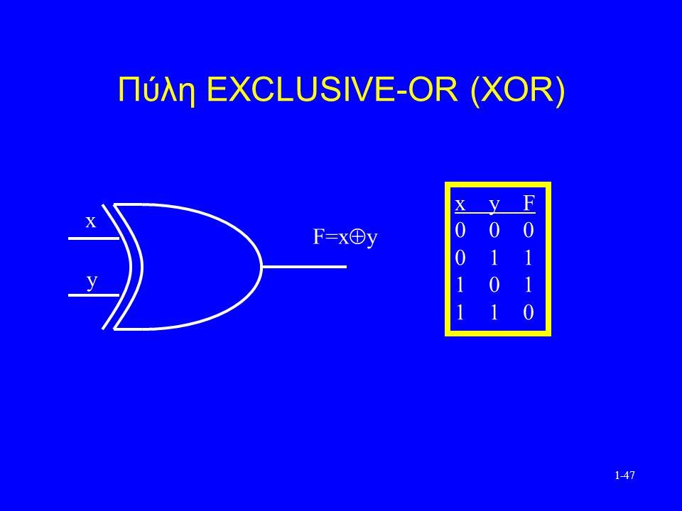 1-47 Πύλη EXCLUSIVE-OR (XOR) x y F=x  y x yF 0 00 0 11 1 01 1 10