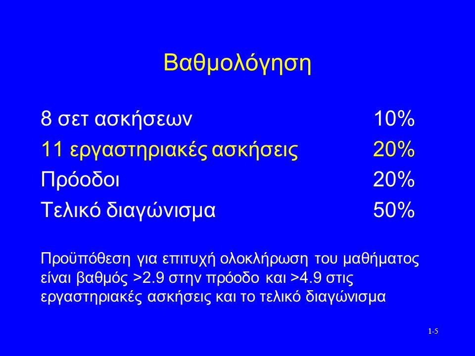 1-5 Βαθμολόγηση 8 σετ ασκήσεων10% 11 εργαστηριακές ασκήσεις20% Πρόοδοι20% Τελικό διαγώνισμα50% Προϋπόθεση για επιτυχή ολοκλήρωση του μαθήματος είναι βαθμός >2.9 στην πρόοδο και >4.9 στις εργαστηριακές ασκήσεις και το τελικό διαγώνισμα