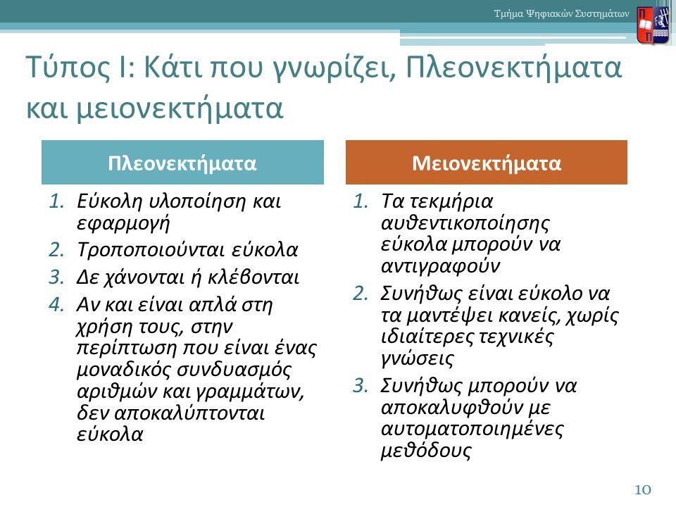 Τύπος I: Κάτι που γνωρίζει, Πλεονεκτήματα και μειονεκτήματα 10 Τμήμα Ψηφιακών Συστημάτων 1.Εύκολη υλοποίηση και εφαρμογή 2.Τροποποιούνται εύκολα 3.Δε