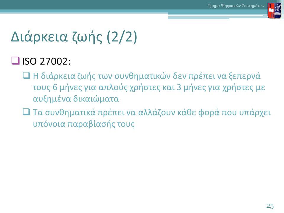 Διάρκεια ζωής (2/2)  ISO 27002:  Η διάρκεια ζωής των συνθηματικών δεν πρέπει να ξεπερνά τους 6 μήνες για απλούς χρήστες και 3 μήνες για χρήστες με α