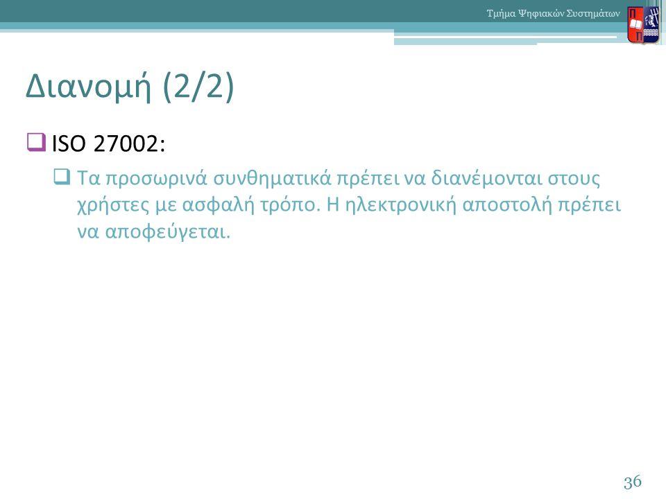 Διανομή (2/2)  ISO 27002:  Τα προσωρινά συνθηματικά πρέπει να διανέμονται στους χρήστες με ασφαλή τρόπο. Η ηλεκτρονική αποστολή πρέπει να αποφεύγετα