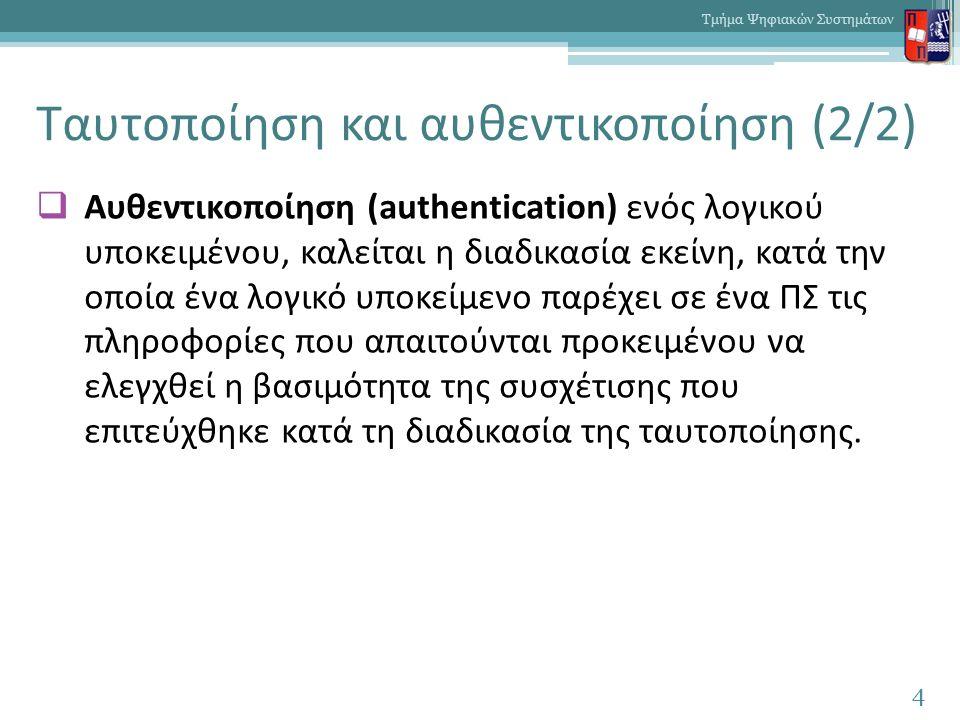 Ταυτοποίηση και αυθεντικοποίηση (2/2)  Αυθεντικοποίηση (authentication) ενός λογικού υποκειμένου, καλείται η διαδικασία εκείνη, κατά την οποία ένα λο