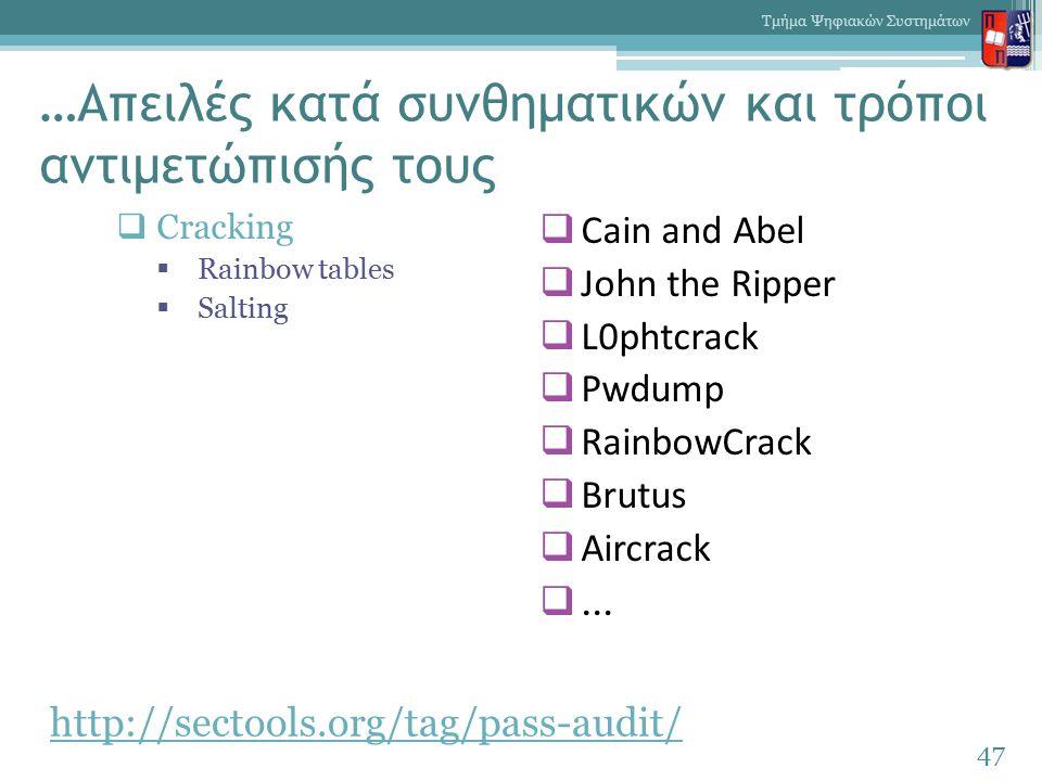 …Απειλές κατά συνθηματικών και τρόποι αντιμετώπισής τους 47 Τμήμα Ψηφιακών Συστημάτων  Cracking  Rainbow tables  Salting  Cain and Abel  John the