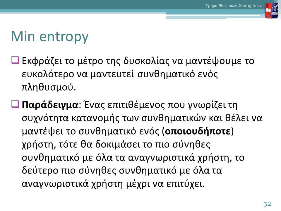 Min entropy  Εκφράζει το μέτρο της δυσκολίας να μαντέψουμε το ευκολότερο να μαντευτεί συνθηματικό ενός πληθυσμού.  Παράδειγμα: Ένας επιτιθέμενος που