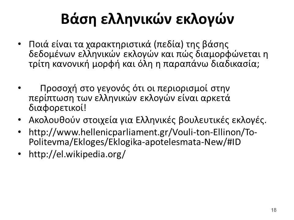 Βάση ελληνικών εκλογών Ποιά είναι τα χαρακτηριστικά (πεδία) της βάσης δεδομένων ελληνικών εκλογών και πώς διαμορφώνεται η τρίτη κανονική μορφή και όλη η παραπάνω διαδικασία; Προσοχή στο γεγονός ότι οι περιορισμοί στην περίπτωση των ελληνικών εκλογών είναι αρκετά διαφορετικοί.