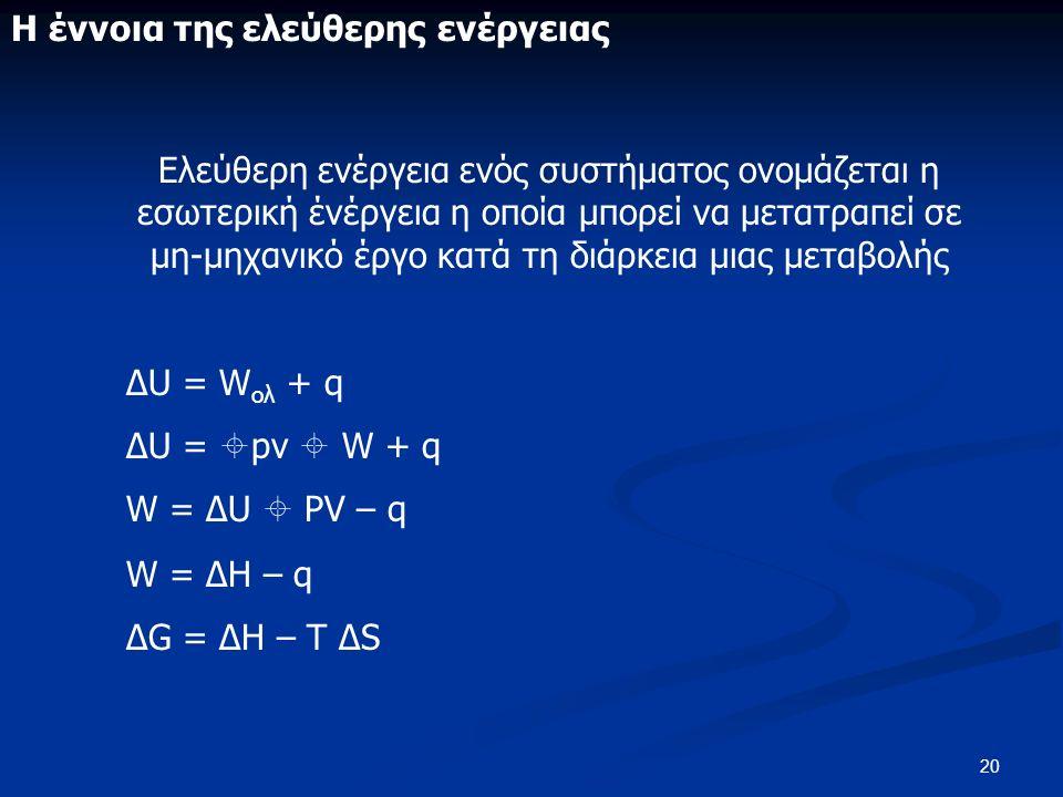 20 Η έννοια της ελεύθερης ενέργειας Ελεύθερη ενέργεια ενός συστήματος ονομάζεται η εσωτερική ένέργεια η οποία μπορεί να μετατραπεί σε μη-μηχανικό έργο κατά τη διάρκεια μιας μεταβολής ΔU = W ολ + q ΔU =  pv  W + q W = ΔU  PV – q W = ΔH – q ΔG = ΔH – T ΔS