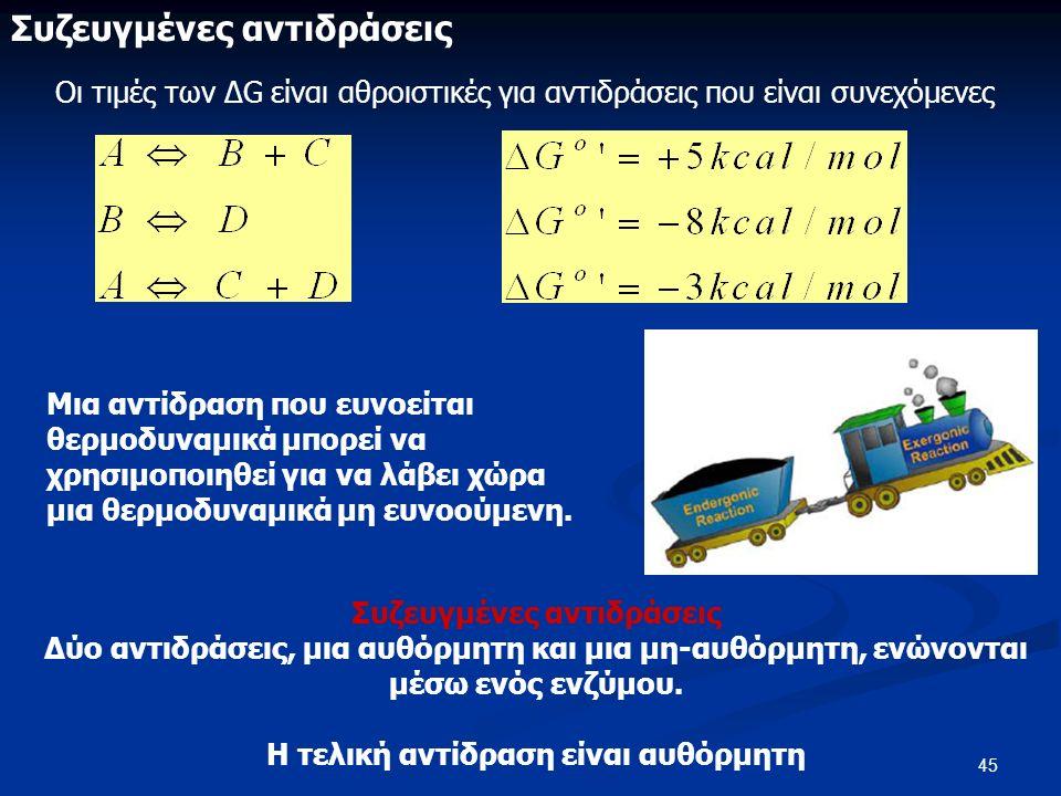 45 Συζευγμένες αντιδράσεις Οι τιμές των ΔG είναι αθροιστικές για αντιδράσεις που είναι συνεχόμενες Συζευγμένες αντιδράσεις Δύο αντιδράσεις, μια αυθόρμητη και μια μη-αυθόρμητη, ενώνονται μέσω ενός ενζύμου.
