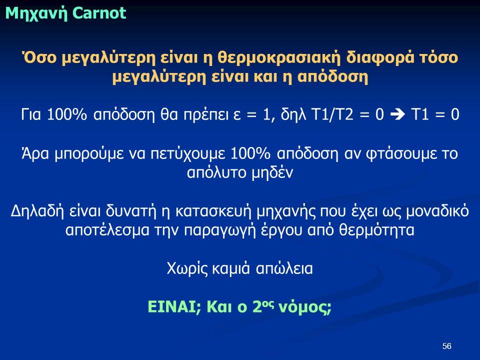 56 Όσο μεγαλύτερη είναι η θερμοκρασιακή διαφορά τόσο μεγαλύτερη είναι και η απόδοση Για 100% απόδοση θα πρέπει ε = 1, δηλ Τ1/Τ2 = 0  Τ1 = 0 Άρα μπορο
