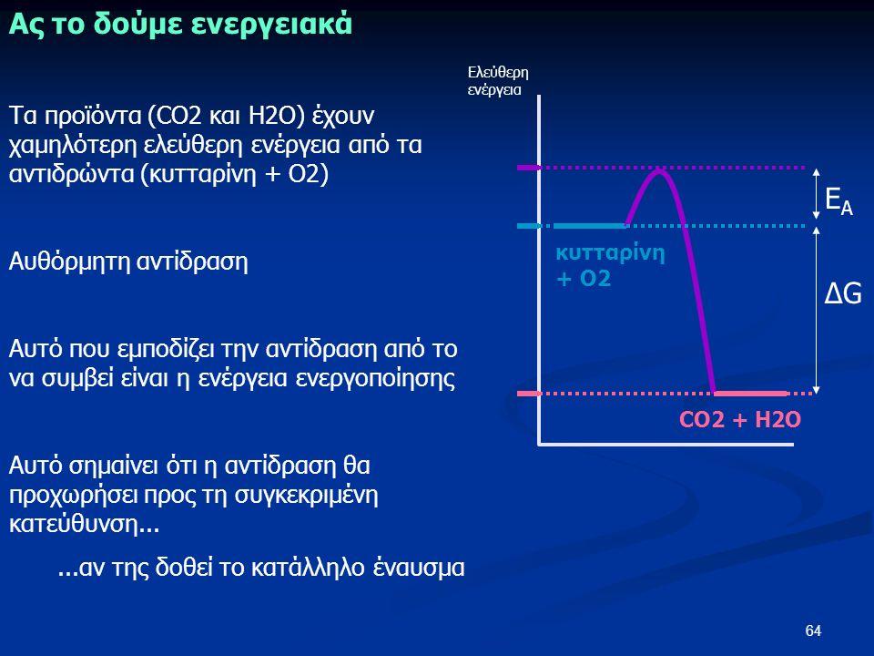 64 Ας το δούμε ενεργειακά Ελεύθερη ενέργεια CO2 + H2O κυτταρίνη + Ο2 Τα προϊόντα (CO2 και H2O) έχουν χαμηλότερη ελεύθερη ενέργεια από τα αντιδρώντα (κυτταρίνη + Ο2) Αυθόρμητη αντίδραση Αυτό που εμποδίζει την αντίδραση από το να συμβεί είναι η ενέργεια ενεργοποίησης Αυτό σημαίνει ότι η αντίδραση θα προχωρήσει προς τη συγκεκριμένη κατεύθυνση......αν της δοθεί το κατάλληλο έναυσμα ΔGΔG EAEA