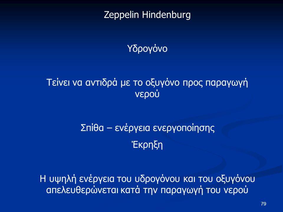 79 Zeppelin Hindenburg Υδρογόνο Τείνει να αντιδρά με το οξυγόνο προς παραγωγή νερού Σπίθα – ενέργεια ενεργοποίησης Έκρηξη Η υψηλή ενέργεια του υδρογόνου και του οξυγόνου απελευθερώνεται κατά την παραγωγή του νερού
