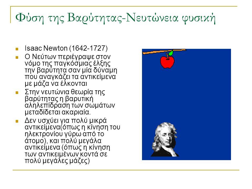 Φύση της Βαρύτητας-Νευτώνεια φυσική Isaac Newton (1642-1727) Ο Νεύτων περιέγραψε στον νόμο της παγκόσμιας έλξης την βαρύτητα σαν μία δύναμη που αναγκά
