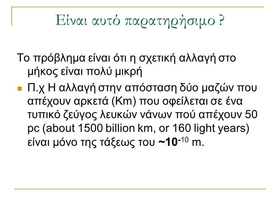 Είναι αυτό παρατηρήσιμο ? Το πρόβλημα είναι ότι η σχετική αλλαγή στο μήκος είναι πολύ μικρή Π.χ Η αλλαγή στην απόσταση δύο μαζών που απέχουν αρκετά (K