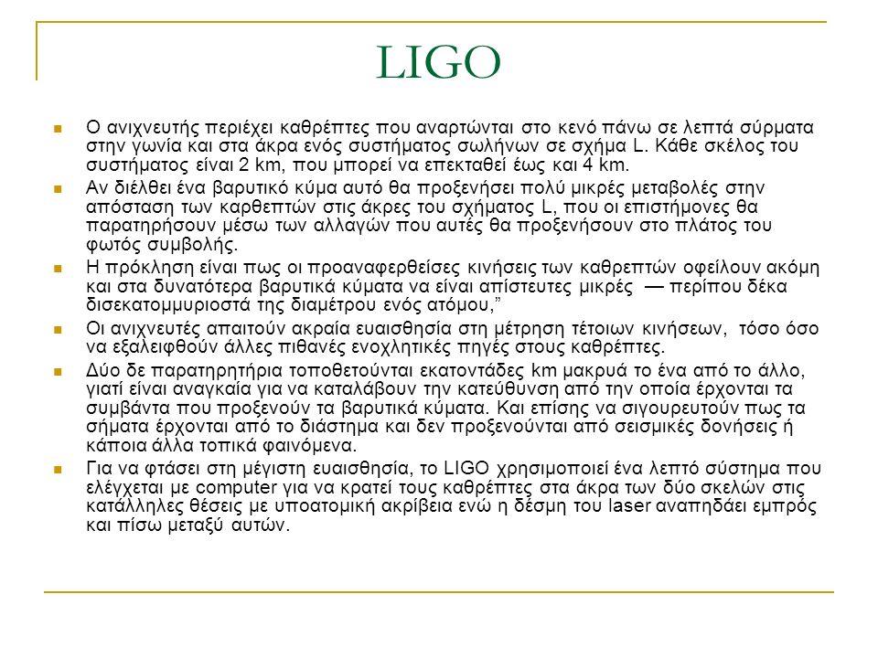 LIGO Ο ανιχνευτής περιέχει καθρέπτες που αναρτώνται στο κενό πάνω σε λεπτά σύρματα στην γωνία και στα άκρα ενός συστήματος σωλήνων σε σχήμα L. Κάθε σκ