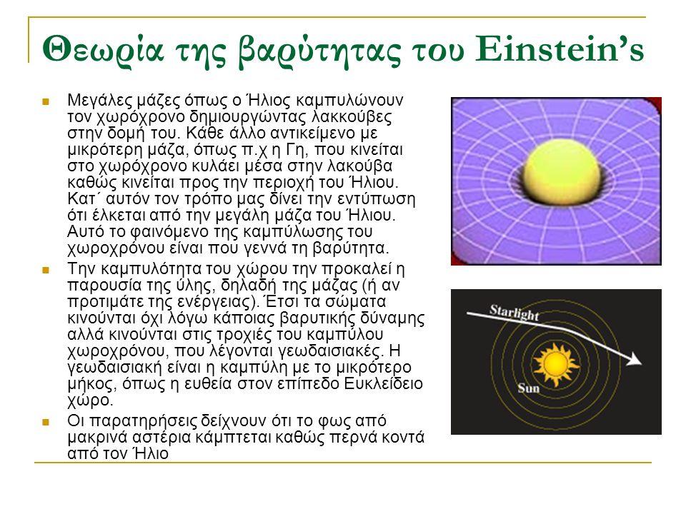 Θεωρία της βαρύτητας του Einstein's Μεγάλες μάζες όπως ο Ήλιος καμπυλώνουν τον χωρόχρονο δημιουργώντας λακκούβες στην δομή του. Κάθε άλλο αντικείμενο