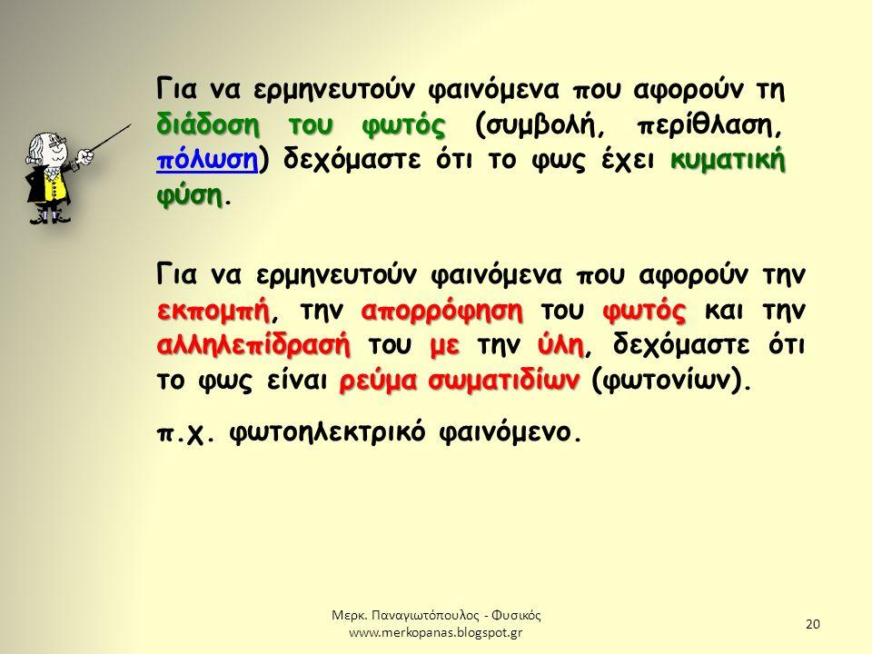 Μερκ. Παναγιωτόπουλος - Φυσικός www.merkopanas.blogspot.gr 20 διάδοση του φωτός κυματική φύση Για να ερμηνευτούν φαινόμενα που αφορούν τη διάδοση του